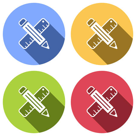 simple symbol of ruler and pencil, criss-cross. Set of white icons with long shadow on blue, orange, green and red colored circles. Sticker style Ilustração