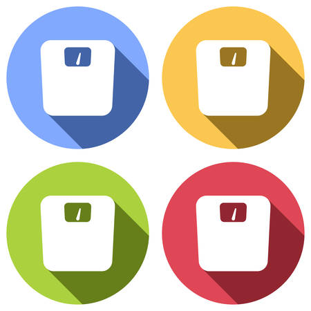 silhouette of weights, simple symbol. Set of white icons with long shadow on blue, orange, green and red colored circles. Sticker style