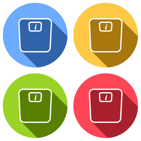 silhouette or icon of weights, simple outline. Set of white icons with long shadow on blue, orange, green and red colored circles. Sticker style
