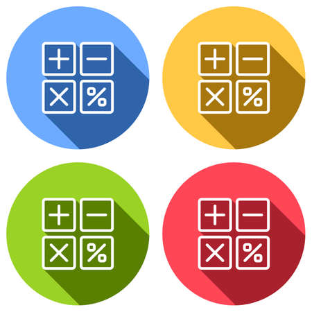 simple icon of calculator. Set of white icons with long shadow on blue, orange, green and red colored circles. Sticker style