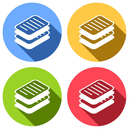 stack of papers, simple symbol or icon. Set of white icons with long shadow on blue, orange, green and red colored circles. Sticker style Ilustração