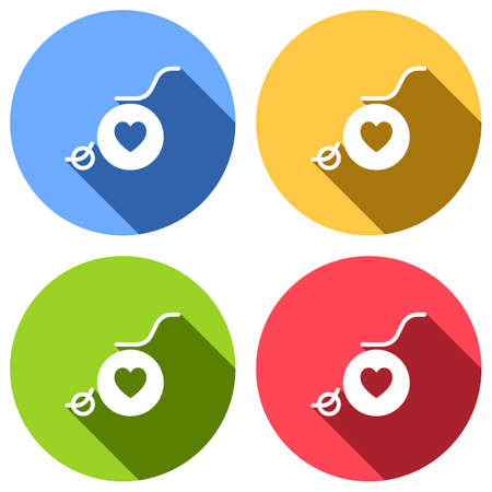 wheelchair and heart, outline icon. Set of white icons with long shadow on blue, orange, green and red colored circles. Sticker style