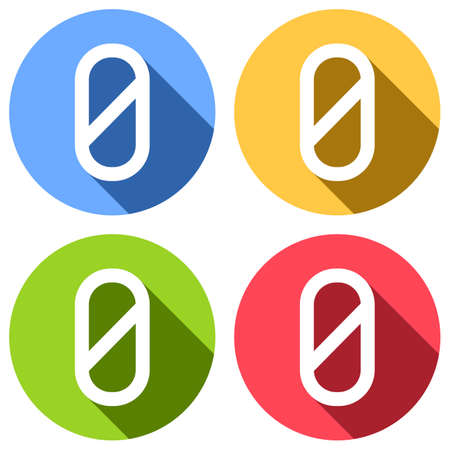 Number zero, numeral, simple letter. Set of white icons with long shadow on blue, orange, green and red colored circles. Sticker style