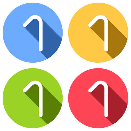 Number one, numeral, simple letter. Set of white icons with long shadow on blue, orange, green and red colored circles. Sticker style Ilustração