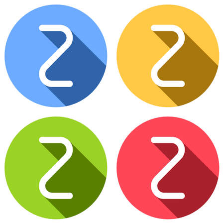 Number two, numeral, simple letter. Set of white icons with long shadow on blue, orange, green and red colored circles. Sticker style