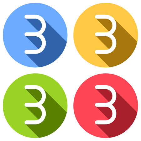 Number three, numeral, simple letter. Set of white icons with long shadow on blue, orange, green and red colored circles. Sticker style Ilustração