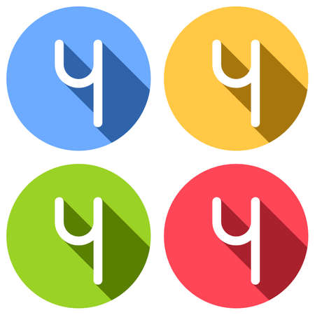 Number four, numeral, simple letter. Set of white icons with long shadow on blue, orange, green and red colored circles. Sticker style Ilustração