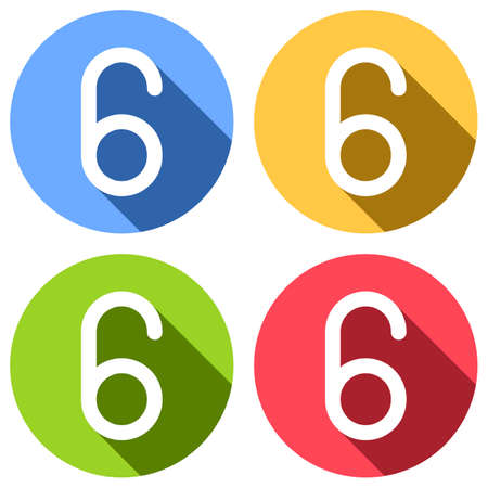 Number six, numeral, simple letter. Set of white icons with long shadow on blue, orange, green and red colored circles. Sticker style