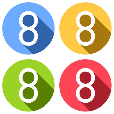 Number eight, numeral, simple letter. Set of white icons with long shadow on blue, orange, green and red colored circles. Sticker style