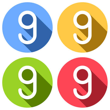 Number nine, numeral, simple letter. Set of white icons with long shadow on blue, orange, green and red colored circles. Sticker style