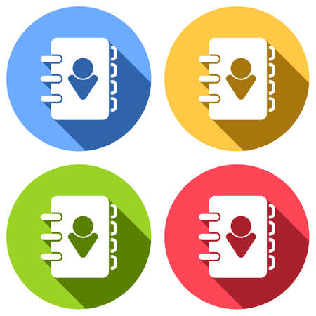 address book with person on cover. simple icon. Set of white icons with long shadow on blue, orange, green and red colored circles. Sticker style