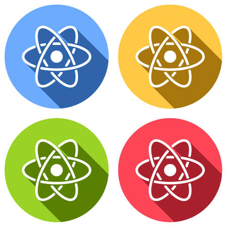 scientific atom symbol, simple icon. Set of white icons with long shadow on blue, orange, green and red colored circles. Sticker style