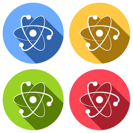 scientific atom symbol, logo, simple icon. Set of white icons with long shadow on blue, orange, green and red colored circles. Sticker style