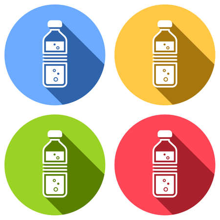 bottle of water with bubbles. simple single icon. Set of white icons with long shadow on blue, orange, green and red colored circles. Sticker style Illustration