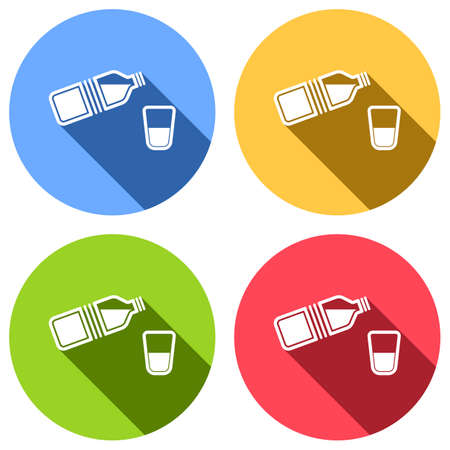 bottle of water and glass. simple single icon. Set of white icons with long shadow on blue, orange, green and red colored circles. Sticker style
