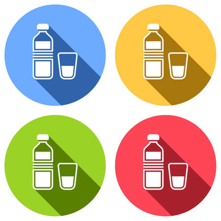 bottle of water and glass cup. simple icon. Set of white icons with long shadow on blue, orange, green and red colored circles. Sticker style