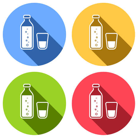 bottle of water with bubbles and glass cup. simple icon. Set of white icons with long shadow on blue, orange, green and red colored circles. Sticker style