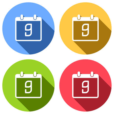 calendar with 9 day, simple icon. Set of white icons with long shadow on blue, orange, green and red colored circles. Sticker style