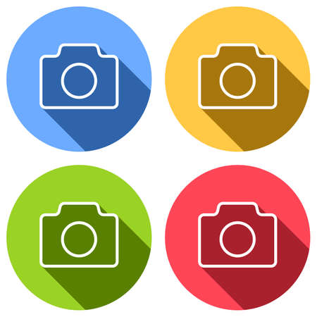 Photo camera, linear symbol with thin outline, simple icon. Set of white icons with long shadow on blue, orange, green and red colored circles. Sticker style