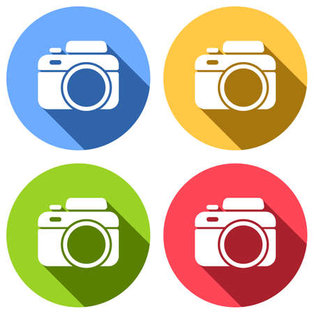 Photo camera, simple icon. Set of white icons with long shadow on blue, orange, green and red colored circles. Sticker style Banque d'images - 127071881