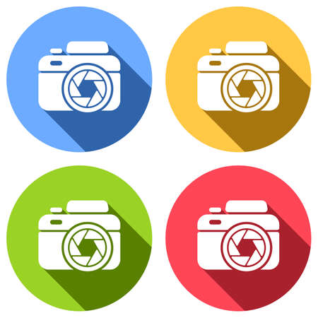 Photo camera with shutter, simple icon. Set of white icons with long shadow on blue, orange, green and red colored circles. Sticker style