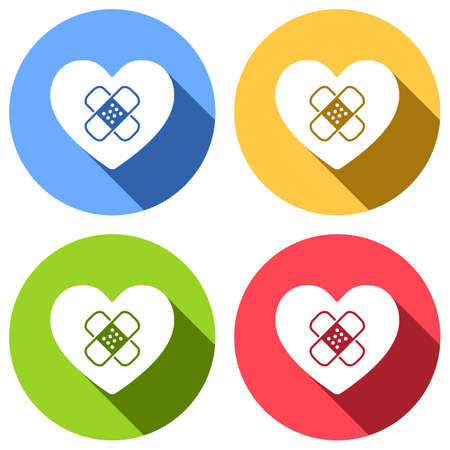 broken heart with patch. simple single icon. Set of white icons with long shadow on blue, orange, green and red colored circles. Sticker style Illustration
