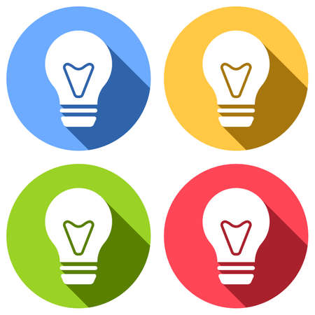 bulb, simple icon. Set of white icons with long shadow on blue, orange, green and red colored circles. Sticker style Illustration