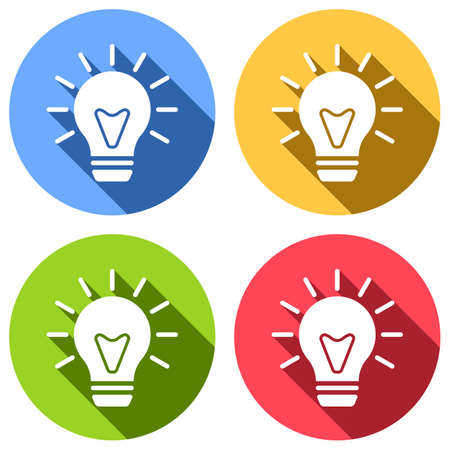 old bulb with light. simple single icon. Set of white icons with long shadow on blue, orange, green and red colored circles. Sticker style