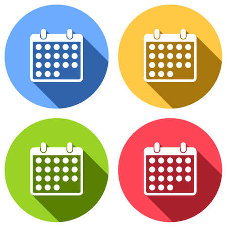 simple calendar icon. Set of white icons with long shadow on blue, orange, green and red colored circles. Sticker style