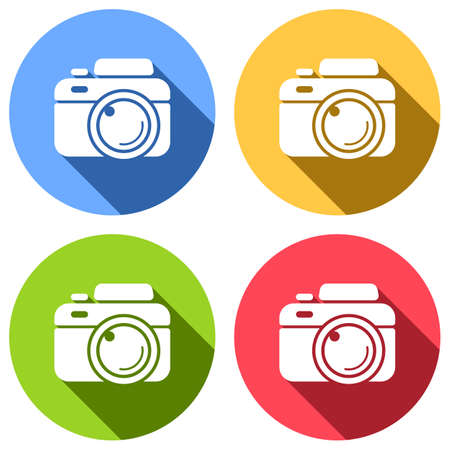 Photo camera, simple icon. Set of white icons with long shadow on blue, orange, green and red colored circles. Sticker style