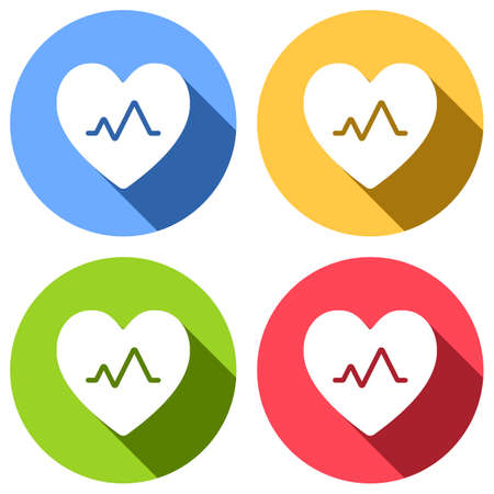 cardiac pulse. heart and pulse line. simple single icon. Set of white icons with long shadow on blue, orange, green and red colored circles. Sticker style