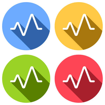cardiac pulse line. simple single icon. one line style. Set of white icons with long shadow on blue, orange, green and red colored circles. Sticker style