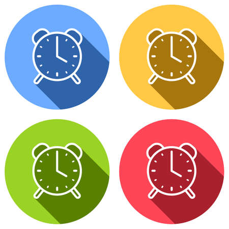 old alarm clock, simple icon, linear symbol with thin outline. Set of white icons with long shadow on blue, orange, green and red colored circles. Sticker style