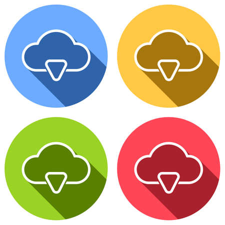 outline cloud download simple icon. linear symbol with thin outline. Set of white icons with long shadow on blue, orange, green and red colored circles. Sticker style