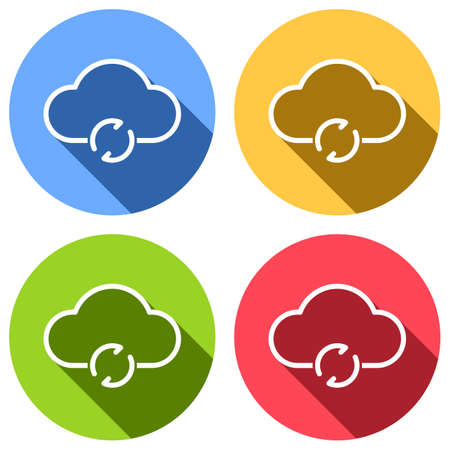 outline update simple cloud icon. linear symbol with thin outline. Set of white icons with long shadow on blue, orange, green and red colored circles. Sticker style