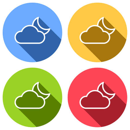 Mostly cloudy at night. Simple linear icon with thin outline. Set of white icons with long shadow on blue, orange, green and red colored circles. Sticker style Illustration