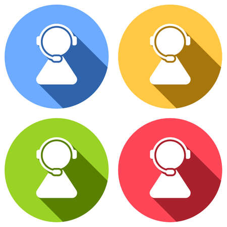 customer service. support service. simple icon. Set of white icons with long shadow on blue, orange, green and red colored circles. Sticker style Illustration