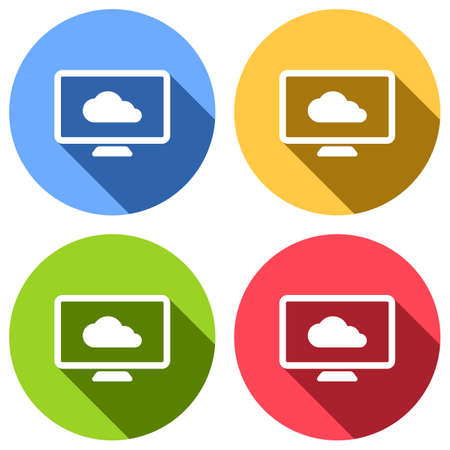 database, cloud technology, computer and cloud. simple icon. Set of white icons with long shadow on blue, orange, green and red colored circles. Sticker style