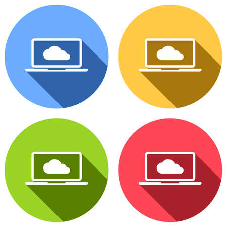 Cloud technology, software. Laptop and cloud. Set of white icons with long shadow on blue, orange, green and red colored circles. Sticker style
