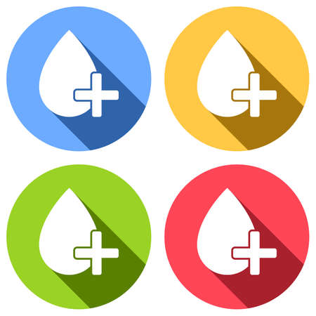 drop of blood and medical cross. simple icon. Set of white icons with long shadow on blue, orange, green and red colored circles. Sticker style