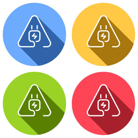 Electric power plug in warning triangle. Simple linear icon with thin outline. One line style. Set of white icons with long shadow on blue, orange, green and red colored circles. Sticker style