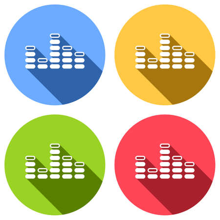 Digital equalizer. Simple icon. Set of white icons with long shadow on blue, orange, green and red colored circles. Sticker style