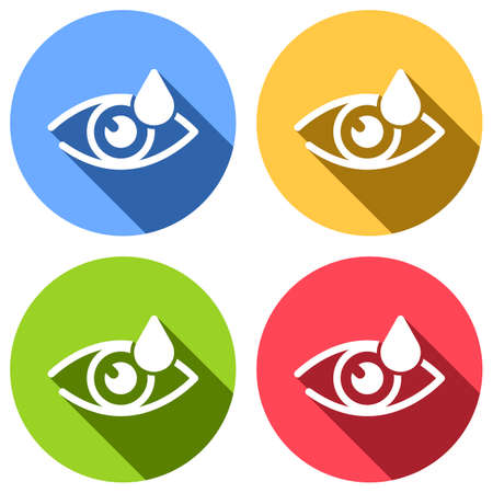Eye and drop. Simple icon. Set of white icons with long shadow on blue, orange, green and red colored circles. Sticker style Illustration