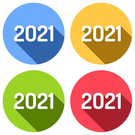 2021 number icon. Happy New Year. Set of white icons with long shadow on blue, orange, green and red colored circles. Sticker style