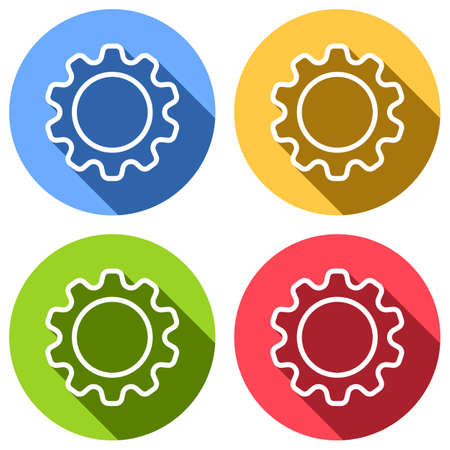 Simple gear symbol, Linear icon with thin outline. Set of white icons with long shadow on blue, orange, green and red colored circles. Sticker style