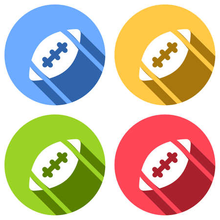 American Football logo. Simple rugby ball icon. Set of white icons with long shadow on blue, orange, green and red colored circles. Sticker style Illustration