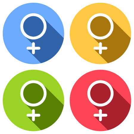 gender symbol. linear symbol. simple women icon. Set of white icons with long shadow on blue, orange, green and red colored circles. Sticker style