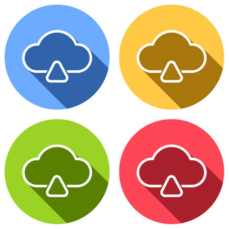 outline upload simple cloud icon. linear symbol with thin outline. Set of white icons with long shadow on blue, orange, green and red colored circles. Sticker style Illustration