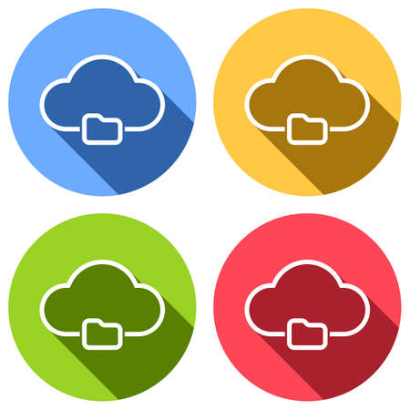 outline simple cloud and folder. linear symbol with thin outline. Set of white icons with long shadow on blue, orange, green and red colored circles. Sticker style Illustration