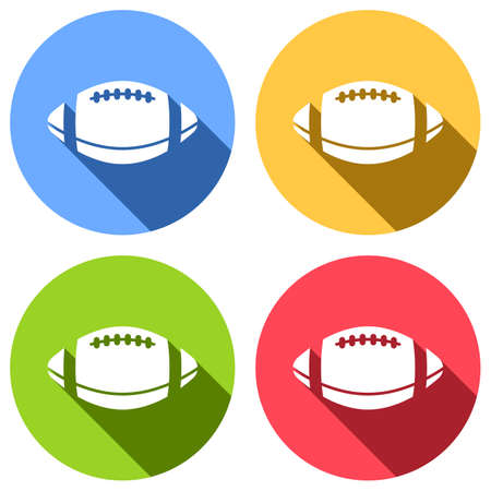 American Football logo. Simple rugby ball icon. Set of white icons with long shadow on blue, orange, green and red colored circles. Sticker style Banque d'images - 127071912
